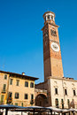 Lamberti Tower in Piazza Signori in Verona, italy. Stock Images