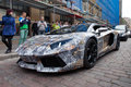 Lamborghini aventador tallinn estonia may super sports car at gumball race gumball is a charity race founded at participants Stock Photography