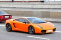 Lamborghini gallardo moscow russia june orange sportscar at the city street Stock Photo