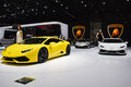 Lamborghini huracan unveiled during the geneva motor show geneva switzerland march Royalty Free Stock Images