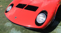 Lamborghini miura supercar front end red s at an angle vents pop up headlamps and eyelashes boca raton concours event in south Stock Photo