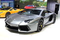 A lamborghini sport car show in autosalon in thailand Stock Photo
