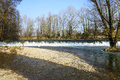 Lambro river in the monza park waterfalls of into lombardy italy at winter Royalty Free Stock Photo