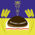 Lammas or lughnasadh greeting card of the famous wiccan sabbath Royalty Free Stock Photo
