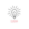 Lamp bulb isolated over white background with handwritten lettering Royalty Free Stock Photo