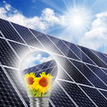 Lamp bulb with solar panels. Stock Photos
