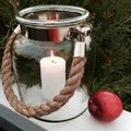 Lamp with candlelight fall photo beautiful glass rope and apple Royalty Free Stock Photo