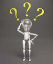 Lamp character has no answers a standing scratches his bulb light switched off with his right hand and three yellow questions Royalty Free Stock Photography