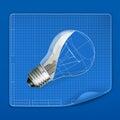 Lamp drawing blueprint Royalty Free Stock Photo