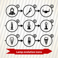 Lamp evolution icons with light from bonfire to led Stock Photography