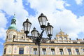 Lamp in front of renaissance house with graffiti Royalty Free Stock Photo