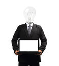 Lamp head businessman holding computer laptop pc isolated on white background objects with clipping paths for design work Stock Photography