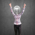 Lamp head girl with well done winning concept shows both hands Stock Photography