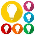 Lamp icon, Bulb icons set with long shadow