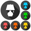 Lamp icons set with long shadow