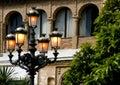 Lamp jarzeniowych wczesnym wieczorem Hiszpanii street Fotografia Stock