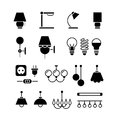 Lamp, light bulbs and electrical equipment vector black silhouette icons set
