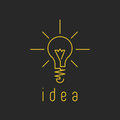 Lamp light mockup yellow business logo, fresh innovation idea icon Royalty Free Stock Photo