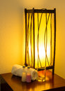 Lamp on a night table in the room Royalty Free Stock Images