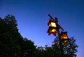Lamp post in the night and sky Royalty Free Stock Photo