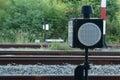 Lamp railroad and railroad station at Stock Photography
