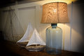 Lamp and sailboats Royalty Free Stock Photo