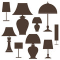 Lamp set isolated objects on white background vector illustration eps Royalty Free Stock Images