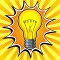 Lamp shine pop art vector illustration
