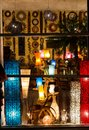 Lamp store at night illuminated window of a in the Royalty Free Stock Photos