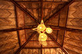 Lamp wood roof cover hall Stock Image