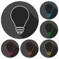 Lamp & x28;bulb& x29; icons set with long shadow