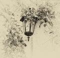 Lampada da parete all aperto vittoriana antica circondata dalle foglie verdi retro immagine filtrata di vecchio stile Fotografia Stock