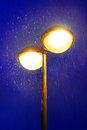 Lampost at night with rain