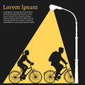 Lamppost lights on family riding bicycles, flat illustration