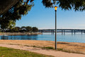 Lamppost on Mission Bay in San Diego with Bridge Royalty Free Stock Photo