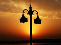 The lamppost silhouette shot of a Royalty Free Stock Photos