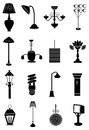 Lamps lights icons set Royalty Free Stock Photo