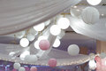 Lamps and paper lanterns decoration Royalty Free Stock Photo