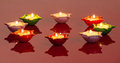 Lamps Signifying the Hindu Festival of Diwali Stock Images