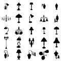 Lamps silhouettes set Royalty Free Stock Photo