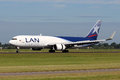 Lan airlines cargo boeing amsterdam july lands at ams airport in netherlands on july is a group of south american Stock Images