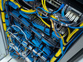 Lan cable use server of factory Stock Photo