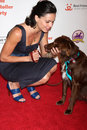Lana parrilla her dog arriving at the lint roller party hollywood palladium los angeles ca october Royalty Free Stock Images