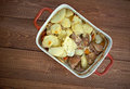 Lancashire hotpot dish made traditionally from lamb topped with sliced potatoes originating in in in the north west of Stock Image