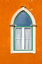 Lancet window of the old portugal house Stock Photo