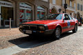 Lancia beta montecarlo at circuito di zingonia the arrival of red in the main place of verdello during the revocation of the race Royalty Free Stock Image
