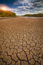 Land with dry and cracked ground Royalty Free Stock Photo