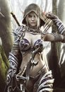 The land of the elves . Portrait of a fantasy heavily armored hooded dark elf female archer warrior
