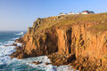 Land end cornwall england towering granite cliffs at lands uk europe Royalty Free Stock Photos