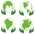 Land on palms ecology icons europe america afri africa illustration Stock Photography